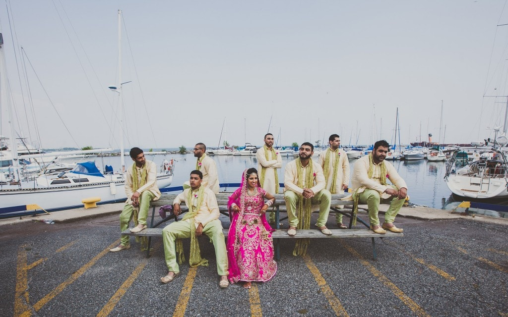 bride-and-her-crew-lake-shore