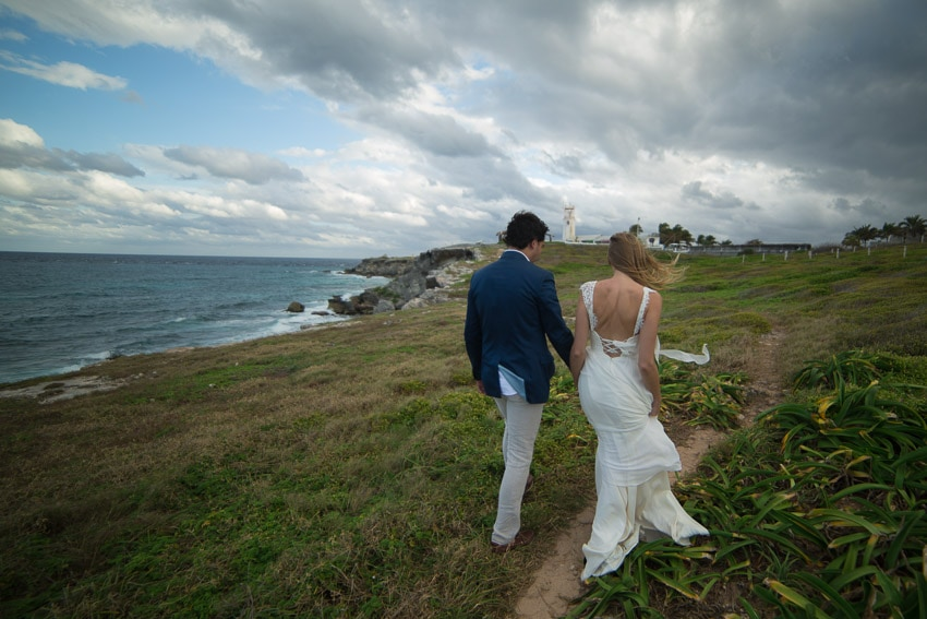 Couple walking through the Mexico landscape.