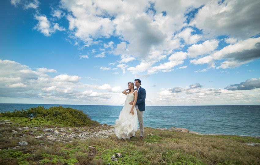 Couple on a Mexican island overlooking the Caribbean sea.