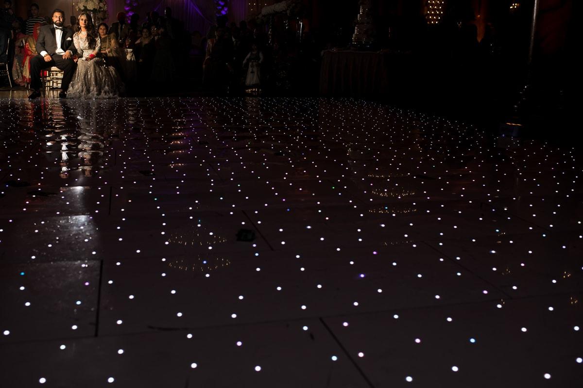 LED lit floor at Indian reception