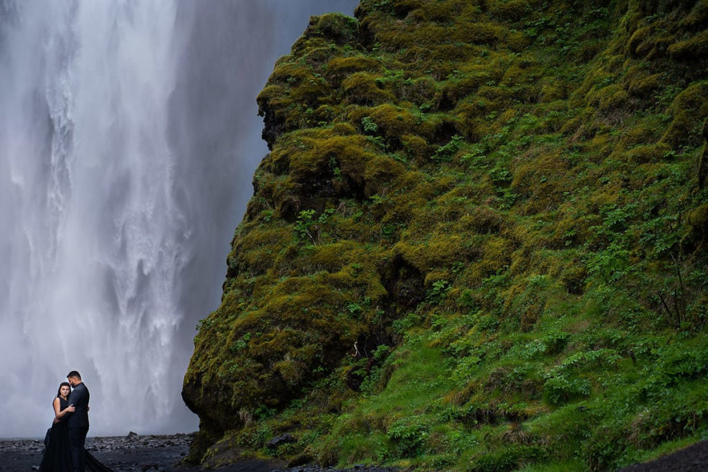 Couple at Skogafoss Falls, Iceland