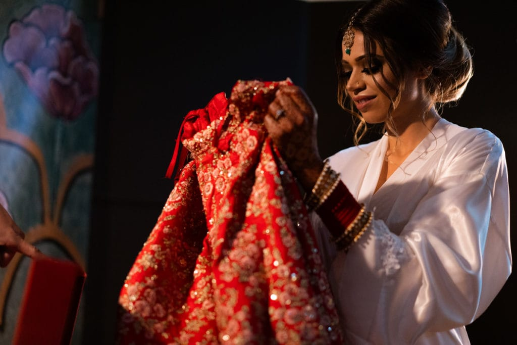 Indian bride with her red lehenga