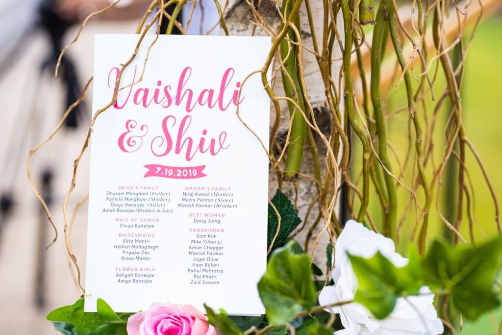 Custom wedding event card