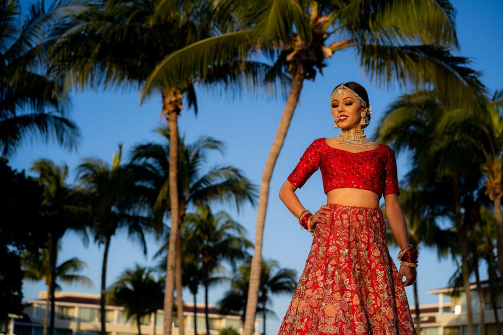Moon Palace Sikh Hindu Indian Wedding in Cancun Mexico. Indian Bride in Red.