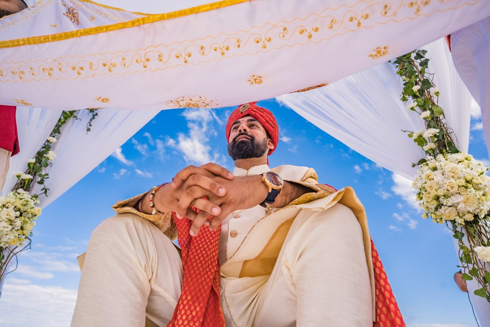 Moon Palace Sikh Hindu Indian Wedding in Cancun Mexico. Wedding Ceremony down south. Hindu Indian Groom.