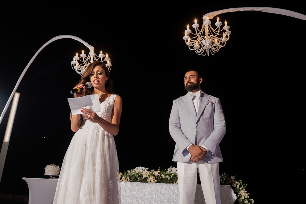 Moon Palace Sikh Hindu Indian Wedding in Cancun Mexico Couple's Speech at Reception