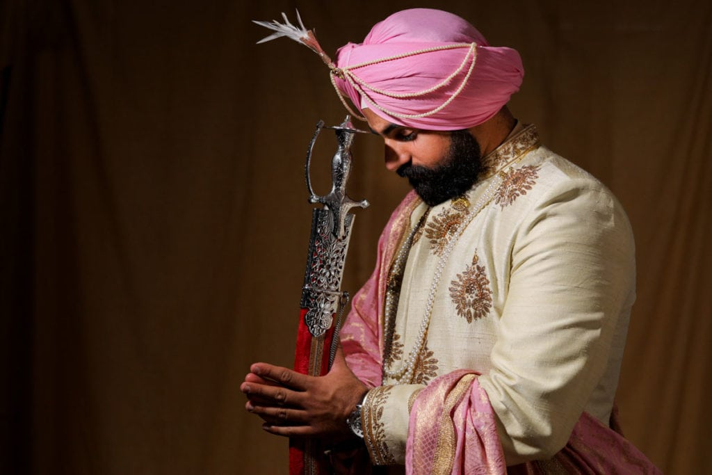 Ottawa Indian Sikh groom on the morning of his wedding ceremony