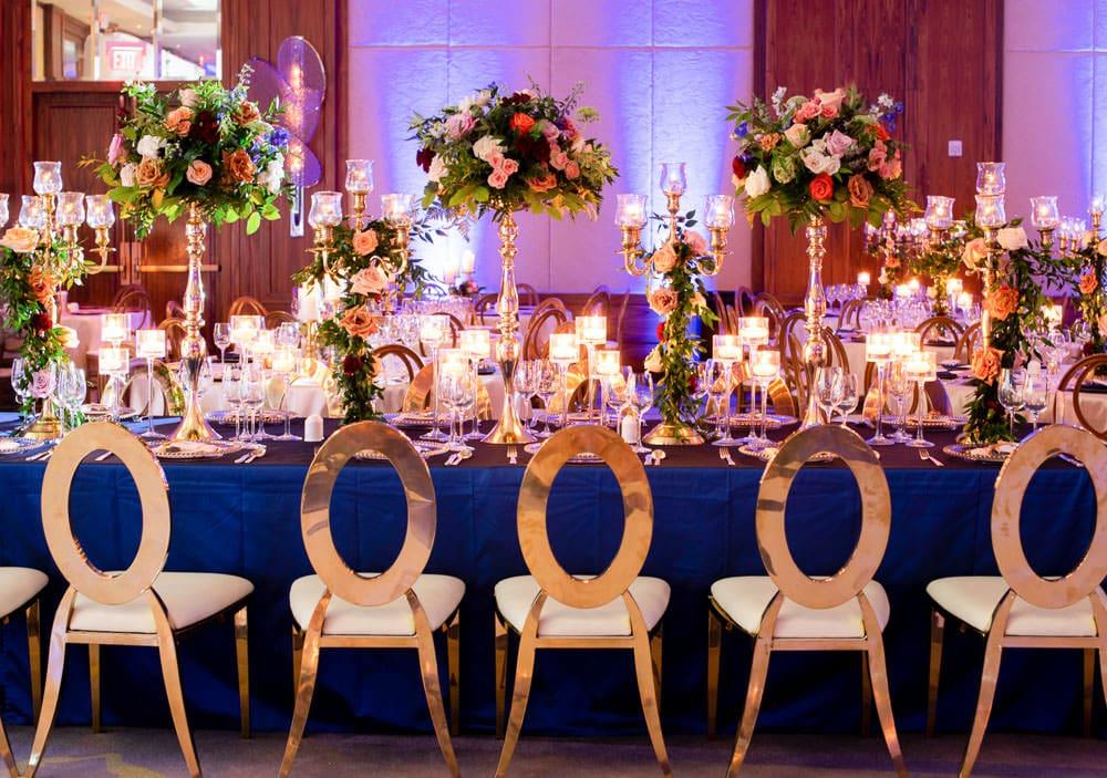 Floral Indian wedding family table at The Ritz-Carlton, Toronto.