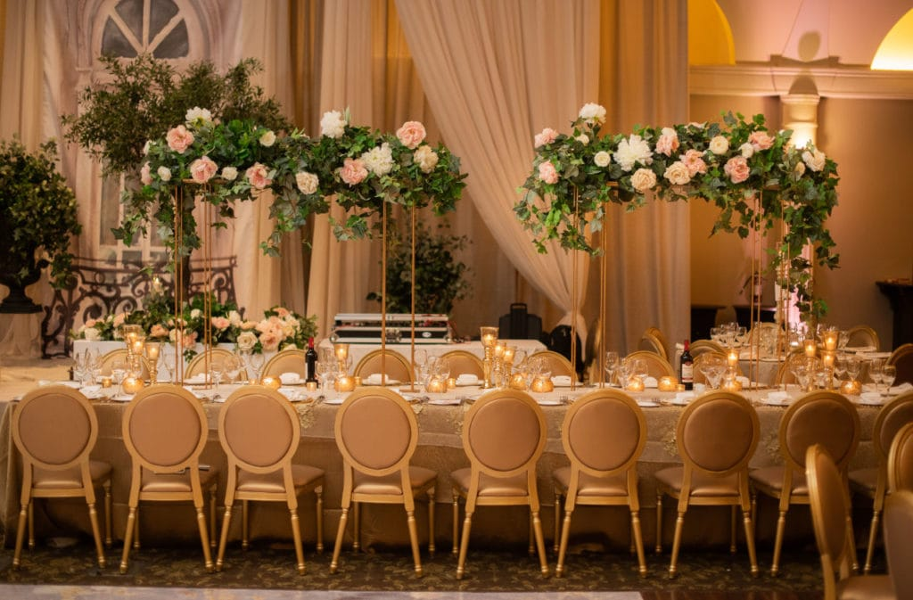 Decor and seating for Indian wedding at Bellvue Manor, Toronto.