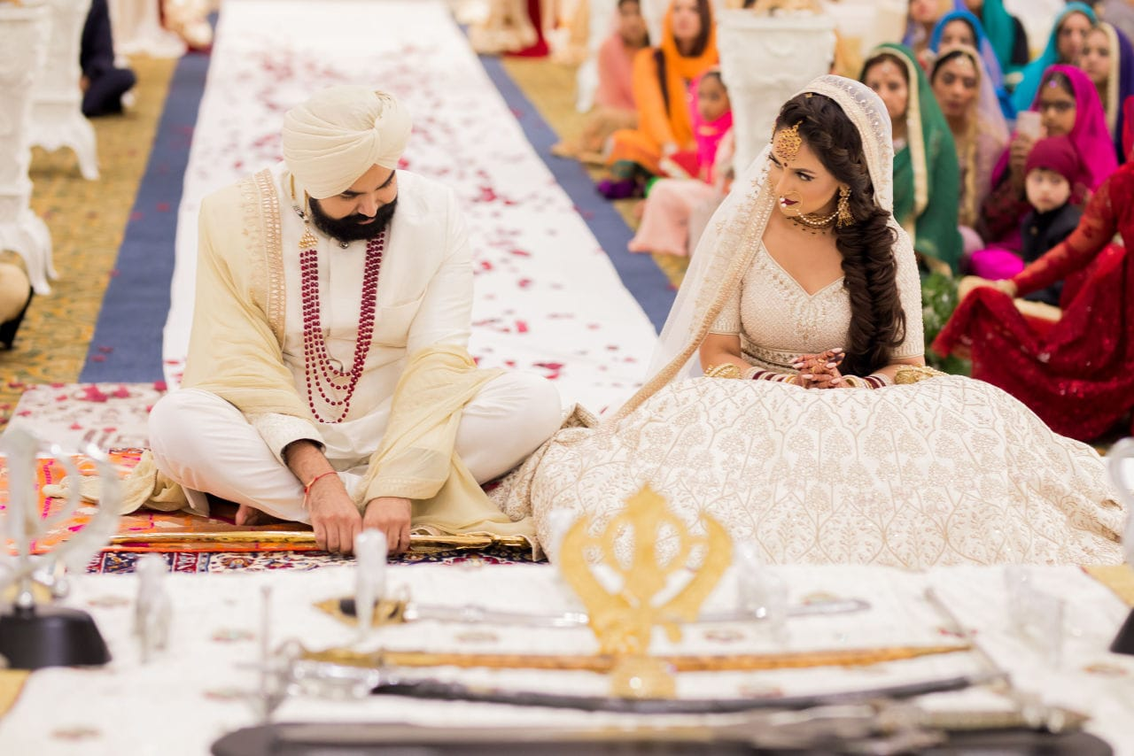 Traditional first look at this high-end Indian wedding