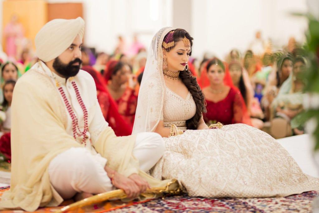 Sikh couple before their Anand Karaj at Nanaksar Gurdwara in Brampton, Toronto.