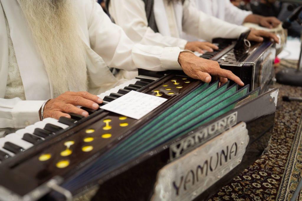 Harmoniums being played at anand Karaj at Nanaksar Gurdwara in Brampton, Toronto.