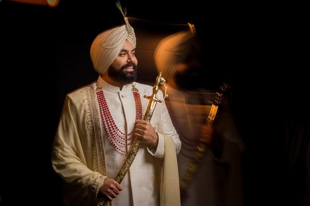 Anita Dongre groom in off white Indian sherwani
